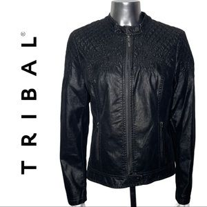 Tribal Black Moto Jacket Embroidered Lined size 6